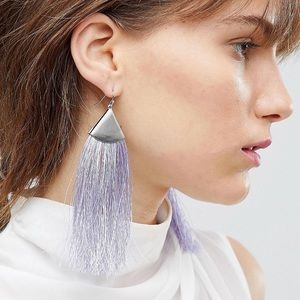 Asos Folded Metal Pop Pastel Tassel Earrings